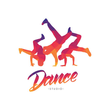 Vector illustration: Color emblem template for Dance Studio with hand lettering and silhouettes of break dancers.