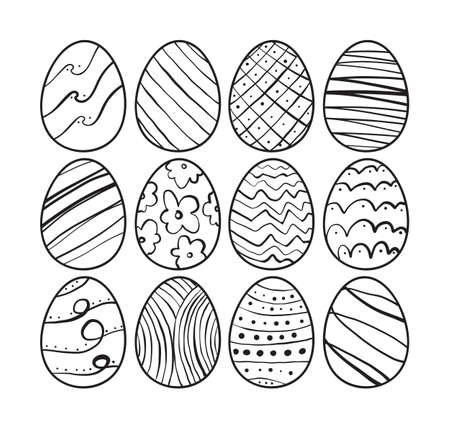 Hand drawn Easter eggs. Sketch line doodle design. Vettoriali