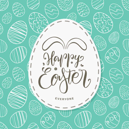 Greeting card with hand drawn eggs, handwritten lettering of Happy Easter Everyone with bunnies ears.