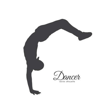 Vector illustration: Silhouette of break dancer. Young man dancing of Hip Hop