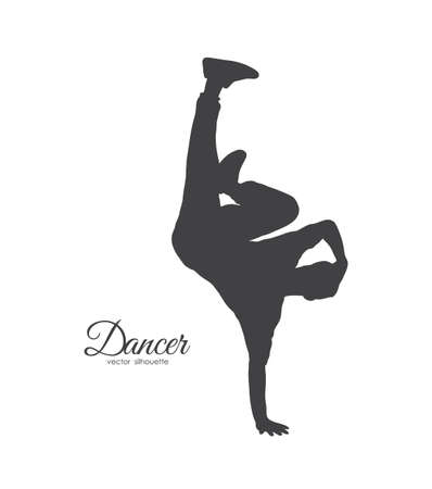 Vector illustration: Silhouette of break dancer. Young man dancing of Hip Hop on white background