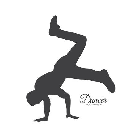 Vector illustration: Silhouette of break dance. Young man dancing of Hip Hop on white background