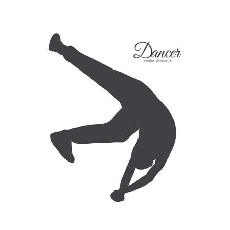 Vector illustration: Silhouette of expressive break dance. Man dancing of Hip Hop