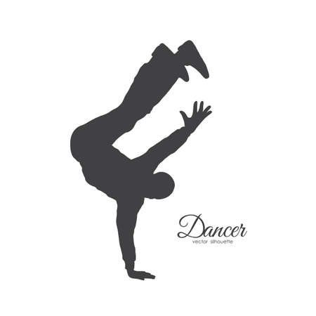 Vector illustration: Silhouette of expressive break dance. Man dancing of Hip Hop on white background