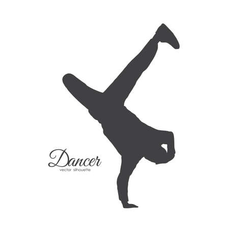 Vector illustration: Silhouette of expressive break dance. Boy dancing of Hip Hop on white background