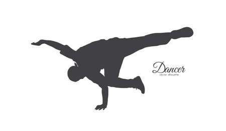 Vector illustration: Silhouette of expressive break dance. Young man dancing of Hip Hop on white background