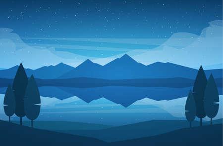 Ilustracja wektorowa: Nocne góry jezioro krajobraz z gwiazdami, refleksją i drzewami na pierwszym planie.