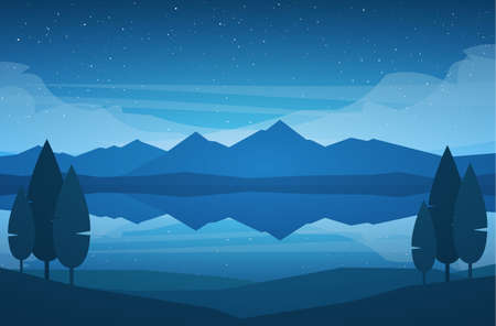 Vector illustratie: Nacht bergen Lake landschap met sterren, reflectie en bomen op de voorgrond.