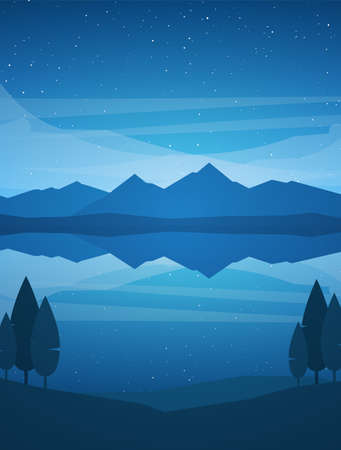 Vector illustration: Vertical Night Mountains Lake landscape with stars, reflection and trees on foreground. Illustration