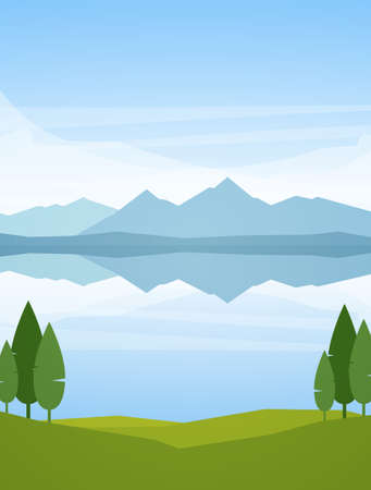 Vector illustration: Vertical Summer Mountains Lake landscape with reflection and trees on foreground.