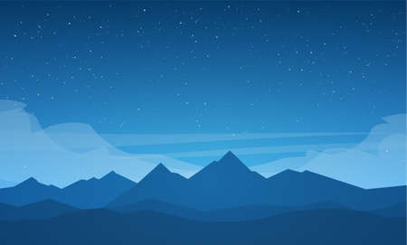 Vector illustration: Flat Night Mountains landscape with stars on the sky.