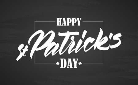 Hand drawn calligraphic brush type lettering of Happy St. Patricks Day with frame on chalkboard background