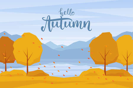 Vector illustration: Autumn landscape with mountains lake, trees and fall leaves Illustration