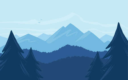 Vector cartoon mountains landscape with silhouette of pines on foreground