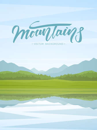 Vector illustration: Vertical Mountain Lake landscape with reflection and handwritten lettering. Reklamní fotografie
