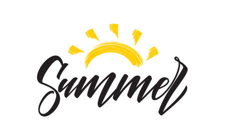 Handwritten type lettering composition of Summer with hand drawn brush sun