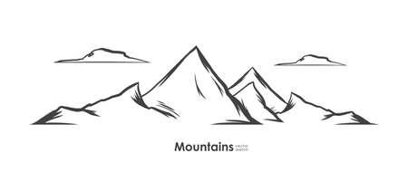 Hand drawn Mountains sketch background. Line design. Emblem template