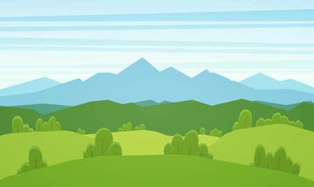 벡터 일러스트 레이 션 : 푸른 언덕 만화 산 플랫 여름 풍경