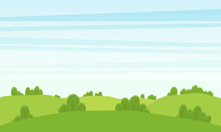 Vector illustration: Cartoon summer landscape with green hills