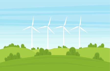 Ilustracja wektorowa: kreskówka lato krajobraz z turbinami wiatrowymi