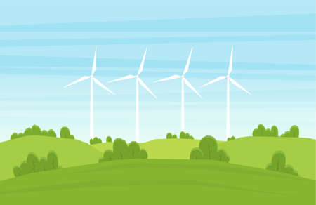 Vector illustration: Cartoon Summer landscape with Wind energy turbines