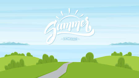 Vector illustration: Cartoon road landscape with handwritten lettering of Summer Vacation. Ilustração