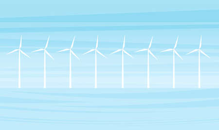 Vector illustration: Offshore farm wind turbines. Flat cartoon landscape