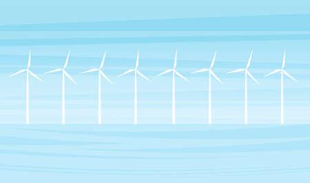 Vector illustration: Offshore farm wind turbines. Flat cartoon landscape
