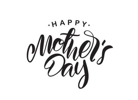 Illustration vectorielle: lettrage de type manuscrit de la fête des mères heureuse isolé sur fond blanc.