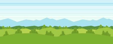 Vector illustration: Seamless cartoon mountains landscape for game design. Horizontal background Фото со стока - 97633825