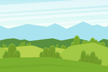 Vector illustration: Cartoon flat summer landscape with green hills and mountains
