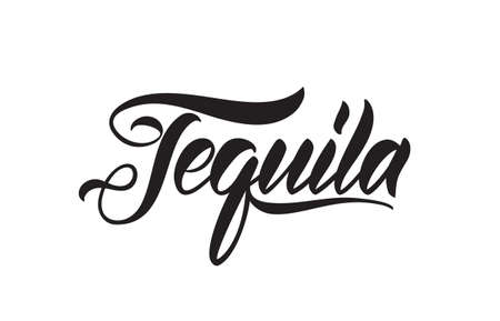 Handwritten vintage brush lettering of Tequila on white background