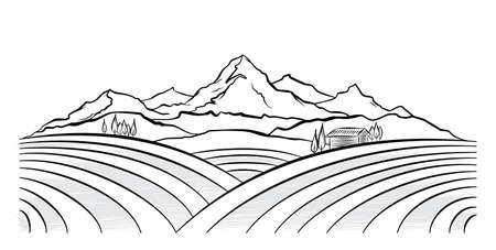 Had drawn mountains rural landscape with fields and farm. Sketch line design