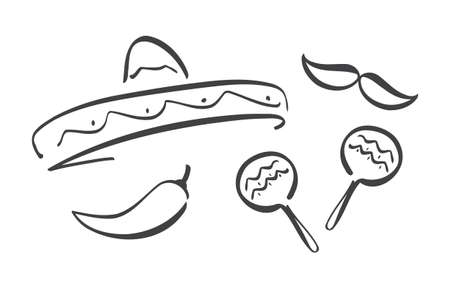 Had drawn set of Mexican symbols. Cinco de Mayo design elements Illusztráció