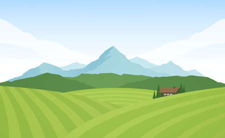 Summer Mountains alpine landscape with fields and house Illustration