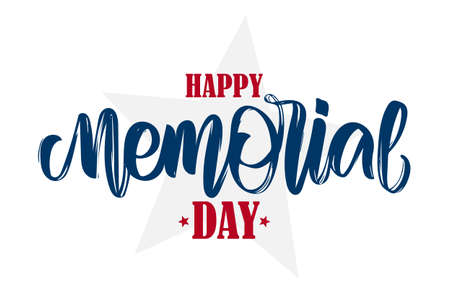 Calligraphic hand lettering composition of Happy Memorial Day with stars.