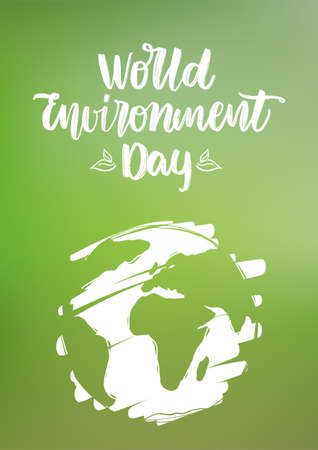 Handwritten type lettering composition of World Environment Day with hand drawn Earth on green blurred nature background Vectores