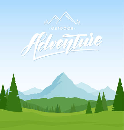 Mountains landscape with hand lettering of Adventure and pines on foreground.