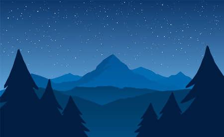 하늘에 별 밤 산 풍경 벡터 (일러스트)