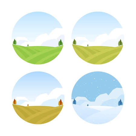 Set of Four Seasons Rural landscape with fields. Spring, Summer, Autumn and Winter