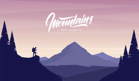 Paysage plat de dessin animé avec randonneur au premier plan et lettrage manuscrit des montagnes.