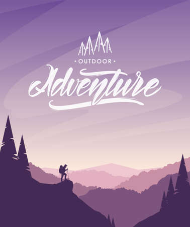 Cartoon flat landscape with hiker on foreground and handwritten lettering of Mountains Adventure.