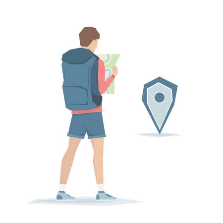 Cartoon graphic young man with backpack is looking for a route on the map. Traveler on white background