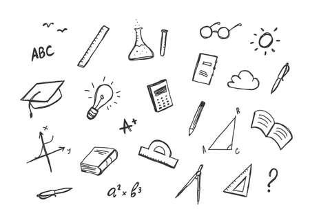 Vector dessiné à la main ensemble de fournitures doddles sur fond blanc.