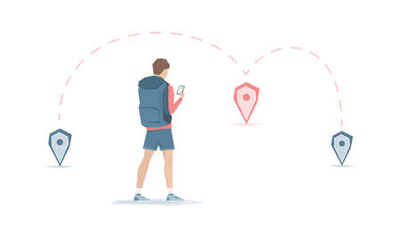 Cartoon young man with backpack is looking for a route on the app map. Traveler with way points on white background