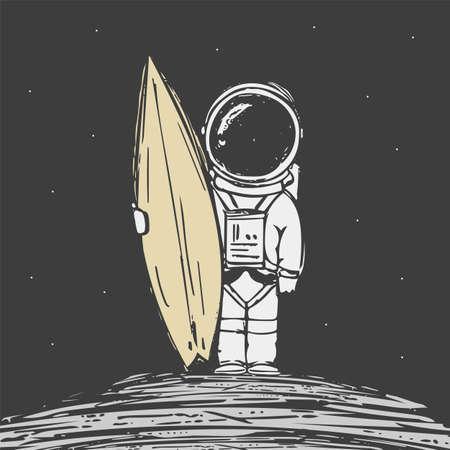 Hand drawn astronaut surfer with surfboard on dark spacw background