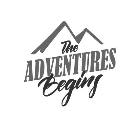 Typography lettering compositin of The Adventures Begins on white background