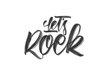 Handwritten type lettering print of Lets Rock on white background