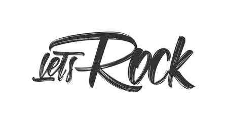 Handwritten brush type lettering of Lets Rock on white background Imagens - 102126341