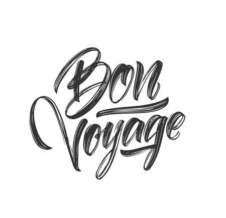 Handwritten brush type lettering of Bon Voyage on white background